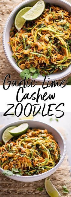 Healthy Recipes These 15 minute garlic lime cashew zoodles are a super easy and healthy vegan meal option. This is a snap to make, and the sauce is addictive! - These 15 minute garlic lime cashew zoodles are a super easy and healthy vegan meal option. Healthy Chicken Recipes, Veggie Recipes, Whole Food Recipes, Diet Recipes, Vegetarian Recipes, Cooking Recipes, Vegan Zoodle Recipes, Ham Recipes, Vegan Recipes