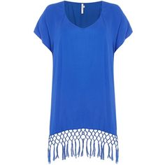 Seafolly Starlight kaftan (€61) ❤ liked on Polyvore featuring tops, tunics, blue, women, bandeau tops, seafolly, seafolly kaftan, seafolly top and kaftan tunic