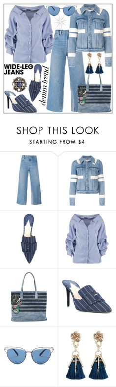 """""""Flare Up: Wide Leg Jeans"""" by pat912 ❤ liked on Polyvore featuring RE/DONE, Givenchy, Altuzarra, Boohoo, Marc Jacobs, Oliver Peoples, polyvoreeditorial, denimtrend and widelegjeans"""