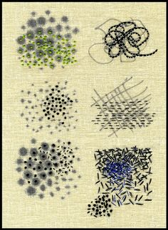 "Ilze Aviks ""Density Exercises"" 2005 7"" x 9"" Cotton thread and ink on linen; handstitching Photo: Ilze Aviks"