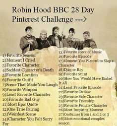 Saved By Grace: Robin Hood BBC Pinerest Challenge. It begins on Saturday! Comment on this pin and we'll add you to the group board!