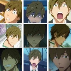 Free! Iwatobi Swim Club -Makoto Tachibana's face expressions <3
