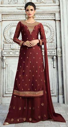 Sharara, Anarkali, Palazzo Suit, Palazzo Style, Pantalon Cigarette, Eid Dresses, Salwar Kameez Online, Maroon Dress, Georgette Fabric