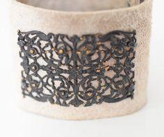 Boho Leather Cuff/Suede Cuff/Neutral Cuff/Steel Shoe Buckle/Art Deco Nouveau/Flapper/Vintage/Shabby Chic Jewelry/ Boho Bracelet/Taupe