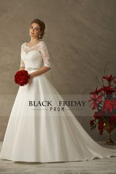 2016 Mid-Length Sleeve Wedding Dresses Scoop Satin With Applique US$ 219.99 BFPRS1P4AY - blackfridayprom.com for mobile