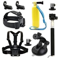 Wespire Action Sports Camera Accessories Kit Mount Chest Belt Strap Head Belt Strap Handheld Monopod Tripod Adapter Floating Hand Grip Suction Cup J-Hook Buckle
