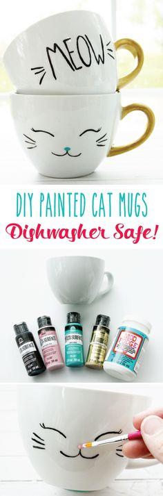 DIY Painted & Dishwasher Safe Cat Mugs