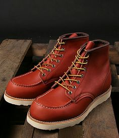 """I bought a pair just like these: Red Wing 8131 6"""" Classic Moc Toe Oro Russet. Very stiff at first, getting more comfy with each time worn."""