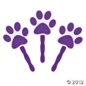Purple Paw-Shaped Fans - Oriental Trading - $5.00 per dozen