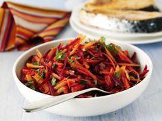 Beet and Garlic Salad Recipe Beetroot And Carrot Salad, Beet Salad, Garlic Salad Recipe, Salad Recipes, Beetroot Recipes Salad, Chicken Quinoa Salad, Pomegranate Salad, Carrot Recipes, Bbc Good Food Recipes