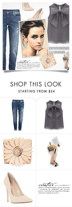 """""""Borrowed from the Boys: Boyfriend Jeans"""" by smajlovicelvira ❤ liked on Polyvore featuring H&M, WithChic, Fendi, Memo Paris, Dune, Emma Watson, WALL, denim, boyfriendjeans and polyvorecontest"""