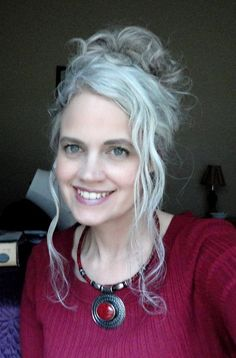 grey hair tied up - Google Search