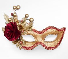 Autumn Themed Burgundy And Gold Masquerade Mask   by SOFFITTA