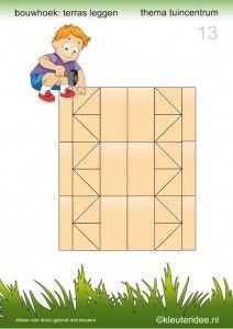 * Voorbeeldkaarten om een terras te leggen in de bouwhoek.  13-15. Preschool Math, Teaching Math, Kindergarten, Block Center, Block Area, Cube Pattern, Pattern Blocks, Fruit Vector, Teaching Technology