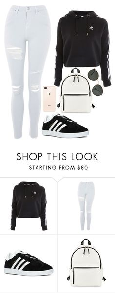 """Untitled #24"" by queenshama ❤ liked on Polyvore featuring Topshop, adidas, French Connection and Ray-Ban"
