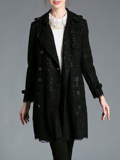 Shop Coats - Black Cotton Floral Work Trench Coat online. Discover unique designers fashion at StyleWe.com.