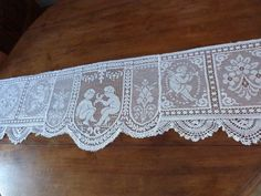 Antique French handmade cherub angel lace canopy shelf edging lace panel w putti, hand crocheted lace, arts and crafts whitework handwork by MyFrenchAntiqueShop on Etsy