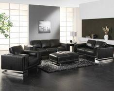 Sitzgruppe - Ledersofa - Couch - Sofa aus Rindsleder in schwarz ...