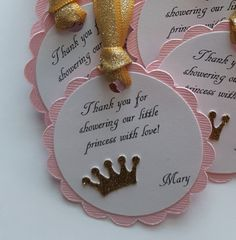 Pink and gold glitter baby shower favor tags princess party tags pink and gold baby shower princess baby shower thank you tags - Color Name Baby - Ideas of Color Name Baby - pink and gold glitter baby shower favor tags by declanandsmith Shower Party, Baby Shower Parties, Baby Shower Themes, Baby Shower Decorations, Baby Shower Gifts, Shower Ideas, Baby Shower Labels, Baby Shower Favors Girl, Baby Favors