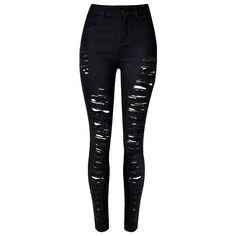 Black Distressed Mid-Waist Skinny Jeans Lookbook Store (£27) ❤ liked on Polyvore featuring jeans, pants, denim skinny jeans, ripped skinny jeans, destroyed jeans, distressing jeans and destructed skinny jeans