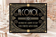 Gatsby Bar Decor Alcohol Sign, 8 x 11 x 16 x size, Gatsby Party, Art Deco Party Supplies - Black and Gold Cards, Free Birthday Invitations, Free Printable Invitations, Art Deco Party, Bubble Guppies Birthday, Alcohol Signs, Diy Shops, Photo Booth Frame, Bridal Shower Signs, Welcome To The Party