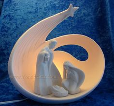 10 Lighted Porcelain Nativity Scene - New for 2012 Christmas Clay, Christmas Nativity, Christmas Images, Christmas Crafts, Christmas Decorations, Christmas Ornaments, Felt Ornaments, Christmas Printables, Christmas Bells