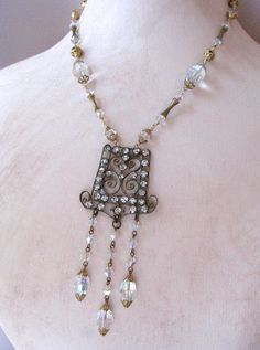 Vintage Rhinestone Buckle w Crystal Dangles Upcycled Necklace by JryenDesigns.etsy.com