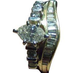 Vintage Art Deco Genuine Diamond.1.00 Carat Gold Engagement Wedding from odditiesandantiquites on Ruby Lane