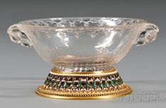 Fine Yellow Gold, Cloisonne Enamel, and Stone-mounted Carved Rock Crystal Bowl