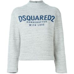 Dsquared2 cropped logo sweatshirt (£270) ❤ liked on Polyvore featuring tops, hoodies, sweatshirts, sweaters, grey, crew neck crop top, gray sweatshirt, gray crop top, grey sweatshirt and cotton sweatshirt