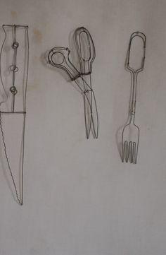 objets fils de fer sculptures et objets: Cuisine sur le fil...