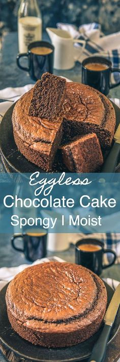 This spongy Eggless Chocolate Cake recipe is one of the best I have come across. Super easy to make and without requiring any fancy ingredients or equipments, this is my favourite recipe for eggless baking. Eggless I vegan I Baking I Homebaking I