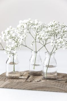Baby's breath flowers solo in clear glass bottles, adore the simplicity.