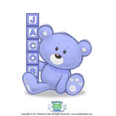 Personalized Teddy Bear & Block print - nursery or kids room wall art - 8x10 Custom colors
