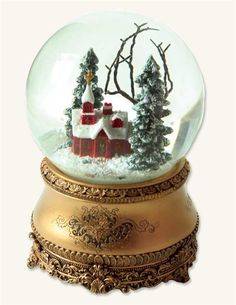 """LITTLE RED CHAPEL Musical Snow Globe """"O Come All Ye Faithful"""""""