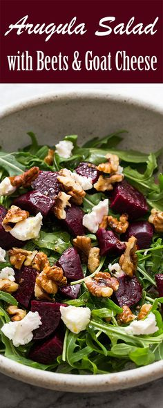 Easy, healthy, Arugula Salad with Beets, Goat Cheese, and Walnuts. With a simple lemon vinaigrette. healthy food Arugula Salad with Beets and Goat Cheese Beet And Goat Cheese, Goat Cheese Recipes, Arugula Salad Recipes, Salads With Goat Cheese, Best Beet Salad Recipe, Quinoa Salad, Salads With Beets, Sauces, Bon Appetit