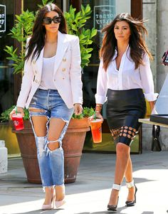 Kim Kardashian and Kourtney Kardashian step out in distressed clothing -- I'm obsessed with Kim's genes! She's looking fab!