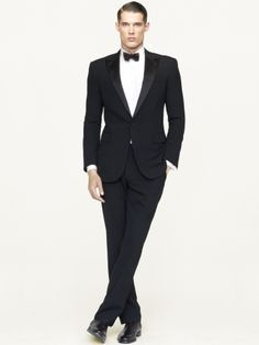 Black Label Anthony Wool Gabardine Tuxedo | See more about Tuxedos, Wool and Bow Ties.