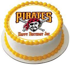 Pittsburgh Pirates 2 Edible Birthday Cake Topper OR Cupcake Topper, Decor #edibleprintsoncake, #ediblecaketopper, #ediblecakeimage,