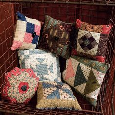 Scrappy Pincushions (speedy secret: use leftover blocks from other projects! From the new book Small and Scrappy by Kathleen Tracy. Patchwork Cushion, Patchwork Bags, Small Quilts, Mini Quilts, Quilt Kits, Quilt Blocks, Crochet Pincushion, Pincushion Patterns, Quilting Projects