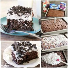 Cookies & Cream Poke Cake is not only super easy to make, but everyone devours this chocolate cake + Cookies & Cream pudding + Oreos combination so quickly! cookies and cream cookies christmas cookies easy cookies keto cookies recipes easy Pudding Poke Cake, Poke Hole Cake, Oreo Cake Recipes, Easy Cake Recipes, Sheet Cake Recipes, Sheet Cakes, Sweet Recipes, Elvis Presley Kuchen, Köstliche Desserts