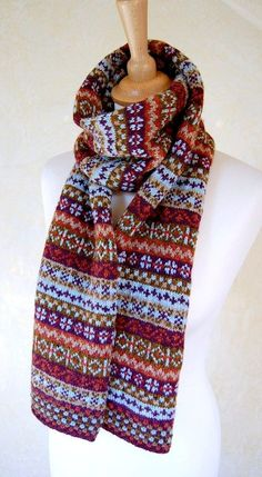 Fair Isle Scarf Reserved Listing for Jacky by helengraydesigns