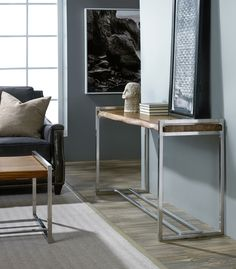 This console table takes the best of industrial and rustic styles as it combines a rustic wood table top with an industrial metal base. The end product is a clean, modern console table with ample space to showcase a few of your most prized accent pieces.