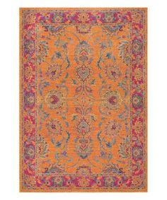 Another great find on #zulily! Orange Floral Persian Mirella Rug #zulilyfinds
