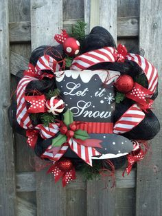 Let it Snow Deco Mesh Wreath by DoorEnvy on Etsy, $75.00
