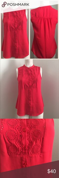 Anthropologie Red Sleeveless Blouse Gorgeous bright red Sleeveless Blouse by Maeve from Anthropologie. Button down design. Has almost a lace type inlay on the upper portion of the top. #4151705 Anthropologie Tops
