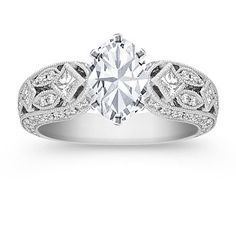 Princess Cut and Round Diamond Engagement Ring with Oval Diamond; your choice of diamond, ruby, or sapphire center #ShaneCoLBD