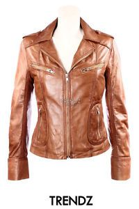 Ladies LUST TAN (9823) Biker Style Classic Washed Real Lambskin Leather Jacket