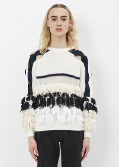 TOGA Pulla Fringe Knit Pullover 1 (White)