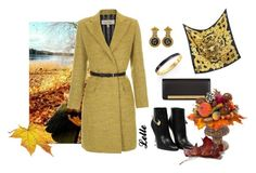 """Paul Smith Mustard Mohair-Blend Wrap Coat"" by lellelelle ❤ liked on Polyvore featuring Paul Smith, Kate Spade, Bulgari, Yves Saint Laurent, Versus, Versace and MacKenzie-Childs"
